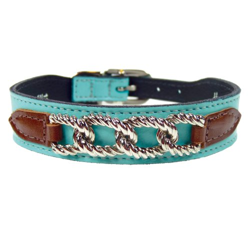 - Hartman & Rose Mayfair Dog Collar, 14 to 16-Inch, Turquoise Chocolate