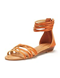 DREAM PAIRS Women's JUULY_01 Fashion Ankle Strap Flat Sandals