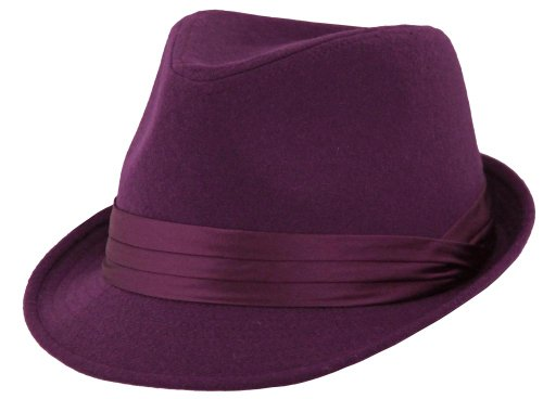 Classic Style Short Brim Fedora with Shiny Violet Pleated Band (Violet, Large)