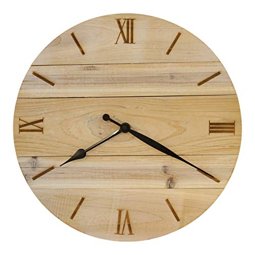 Bjerg Instruments Shiplap Style Wood Clock with Laser Engraved Numbers 14