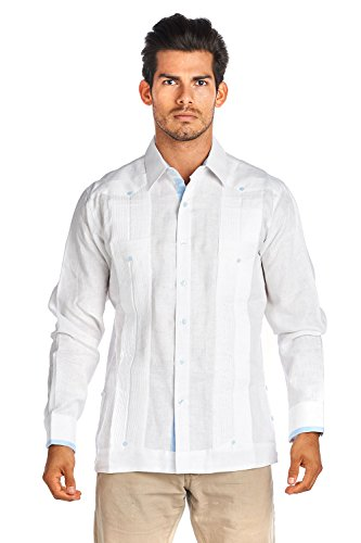 Mojito Collection (Mojito Collection 100% Irish Linen Republic Guayabera (Large, White))