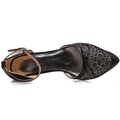 TAOFFEN Women Classic Bow Ankle Strap Kitten Heel Sandals Black U8h4GIiK6G