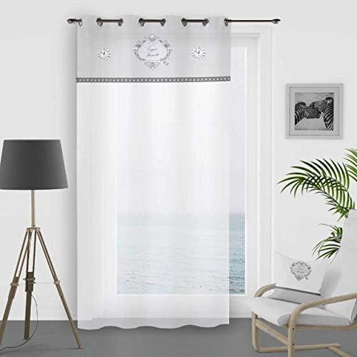 Blanc 140 x 250 cm Soleil docre Esprit de Famille Voilage Coton