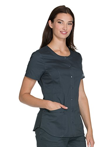 - Cherokee Core Stretch Workwear Women's Round Neck Solid Scrub Top XXX-Large Pewter