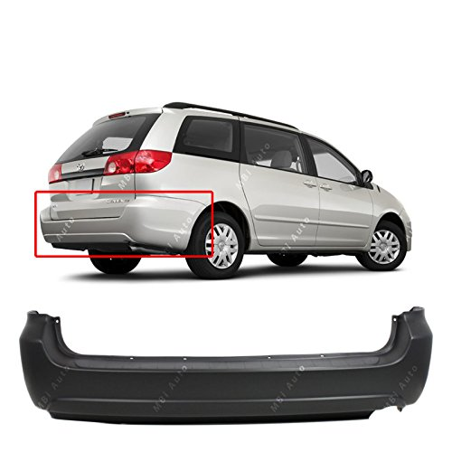 MBI AUTO Primered, Rear Bumper Replacement Cover for 2004-2010 Toyota Sienna Minivan 04-10, (04 Rear Bumper Cover)
