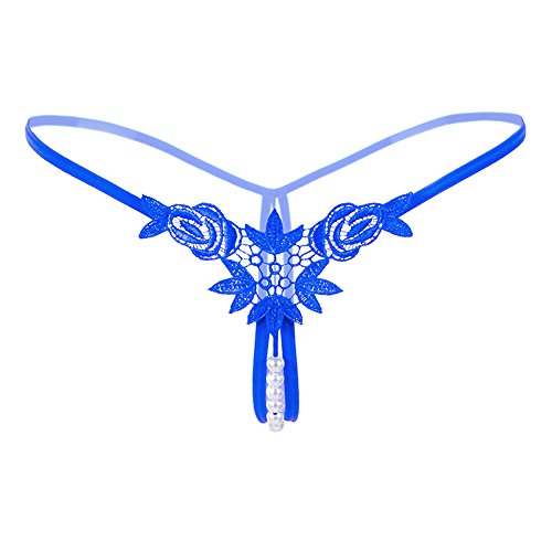 Floral Embroidery Thong - Women Elastic Floral Embroidery Center Mesh Low Waist Pearls Lingeries Thongs G Strings T Back Penties (One Size, Blue)