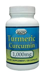Platinum Quality's Turmeric Curcumin 1,000mg, 120 Capsule Bottle
