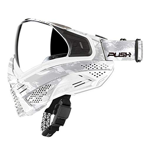 Push Unite Paintball Goggles MASK with Quad PANE Lens and CASE (White Camo Silver Lens)