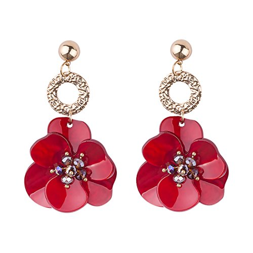 GuanLong Plated Gold Acrylic Beads Flower Dangle Earrings Women Spring Jewelry ()