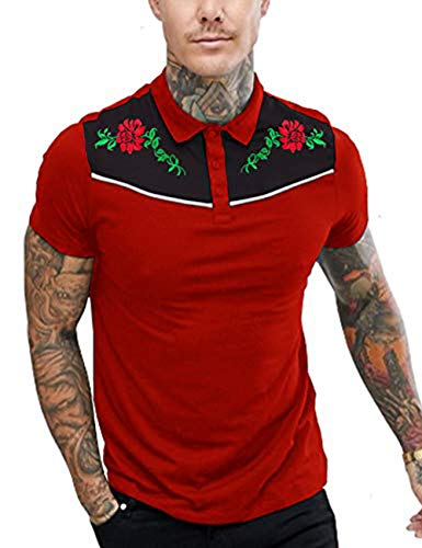 (COOFANDY Men's Short Sleeve Polo Shirts Rose Floral Embroidery Casual Cotton Polo T Shirt)