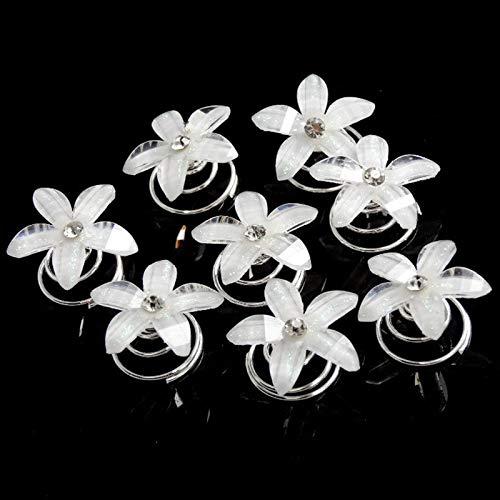 (12Pcs White Crystal Rhinestone Flower Swirl Spiral Wedding Party Bride Twist Coils Hair Pins Clip Women Girl Jewelry Girls Accessories)