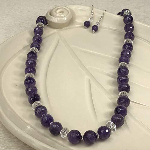 (JANECKA Amethyst 24 Inch Beaded Necklace and Earring Set, 4th Anniversary Gemstone, February Birthstone)