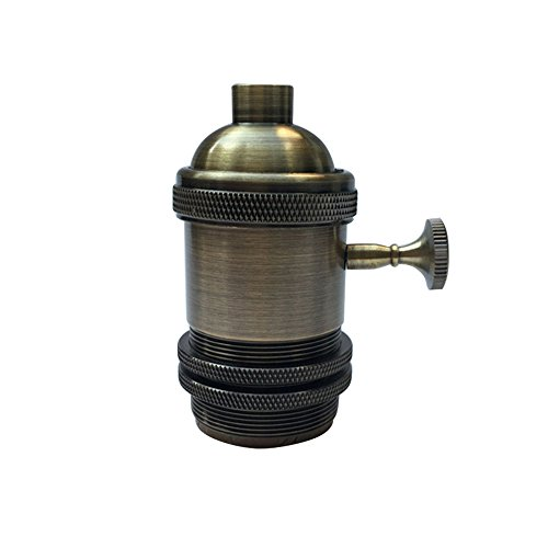 Motent Industrial Solid Brass Retro Knob Light Socket Lamp Holder for Edison E26/ E27 Screw Bulb Base - Bronze