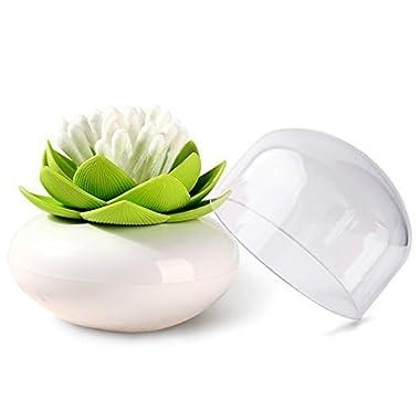 MelonBoat Lotus Cotton Swab Holder, Small Q-tips Toothpicks Storage Organizer, Green