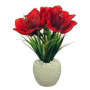 MARJON FlowersArtificial Red Amaryllis Plant in Pot 95