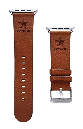 Game Time Dallas Cowboys Tan Leather Band Compatible with Apple Watch - 42mm/44mm Long