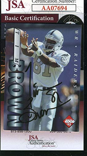 (TIM BROWN 1995 Collectors Edge Autograph Coa Authentic Hand Signed - JSA Certified - NFL Autographed Football Cards)