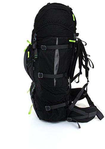 Mochila de Trekking 100L + 20L TASHEV MOUNT 120 litros - Mochila con cubierta impermeable negro, verde