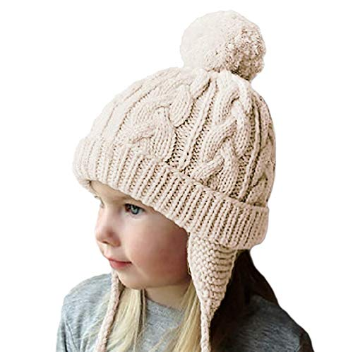 Motaierly Toddler Kids Boys&Girls Baby Earflaps Beanie Hats Fall Winter Warm Soft Knit Infant Pom Caps 02 -