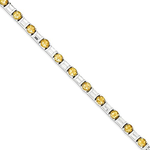 Buy sterling silver 7 inch citrine & cz bracelet