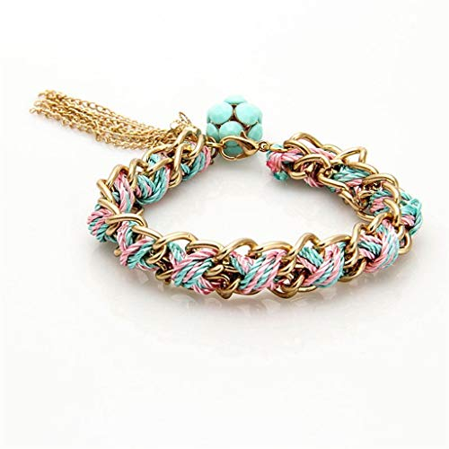 Braid Necklace Phiten - Acrylic Bohemian Bracelet Braided Rope Chain Weaving Tassel Girls 17.5cm