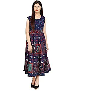 fashiongrape Women's Cotton Long Semi-Stitched Fabric Jaipuri Printed Maxi (Free Size, Navy Blue, fgd7)