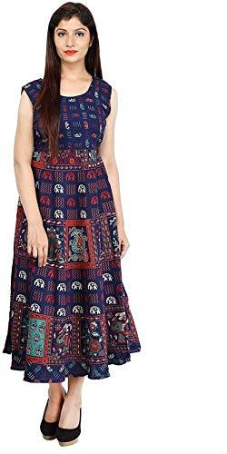fashiongrape Rajasthani Traditional Women's Cotton Maxi Long Dress Jaipuri Printed (Free Size Upto 44-XXL) Blue