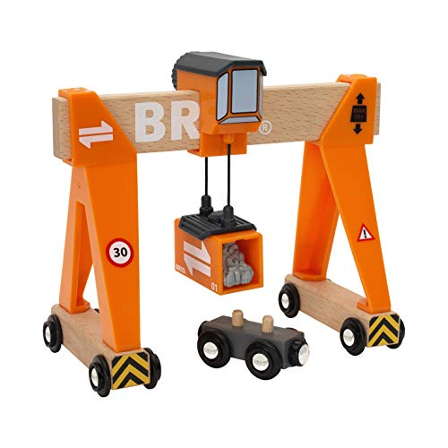 Wooden Cargo - BRIO World - 33732 Gantry Crane | 4 Piece Gantry Crane Toy for Kids Ages 3 and Up