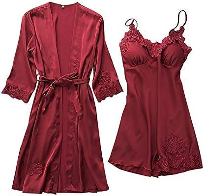 b334529537 Malloom Ropa Interior Lencería Mujer Seda Vestido de Bata de Encaje  Babydoll Camisón Ropa de Dormir Kimono Conjunto Sexy Pijama de Encaje Sexy  camisón ...