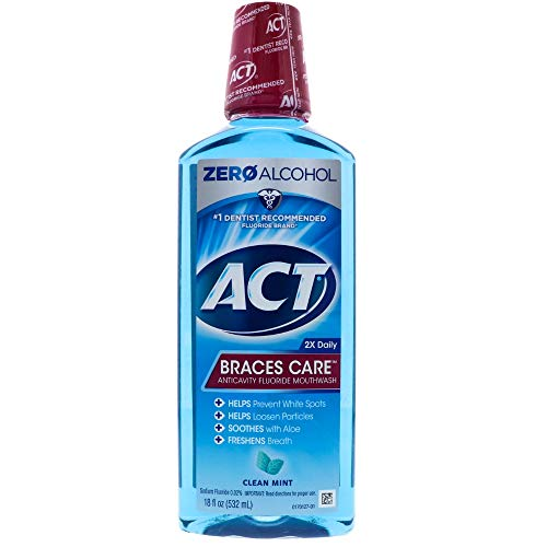 ACT Braces Care Anticavity Fluoride Mouthwash with Xylitol, Clean Mint 18 oz Pack of 4