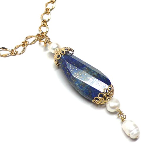 (Lapis Lazuli Large Faceted Twist Oval Pendant Chain Necklace)
