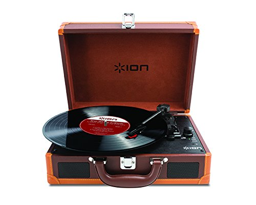 ION Audio Vinyl Motion Deluxe | Portable 3-Speed Belt-Drive Suitcase Turntable with Built-In Speakers...