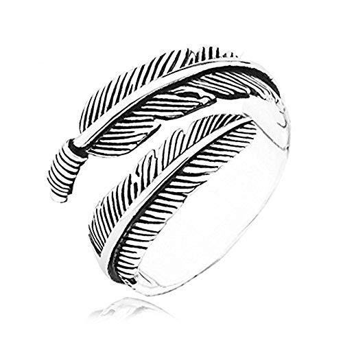 NSHUN Feather Ring Open Ring Old Craft Vintage Anillo Abierto Joyería de Boda para Mujeres