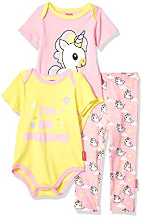 Fisher-Price Unisex-Baby 3-Piece Bodysuit and Pant Set Layette Set - Pink - 12 Months