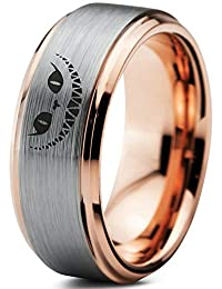 Alice in Wonderland Cheshire Cat Ring - Tungsten Band 8mm - Men - Women - 18k Rose Gold Step Bevel Edge - Yellow - Grey - Blue - Black - Brushed - Polished - Wedding - Gift Dome Flat Cut