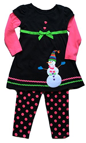 Good Lad Snowman Black & Pink Holiday 2 Piece Dress & Leggings Set (5 Yrs) …