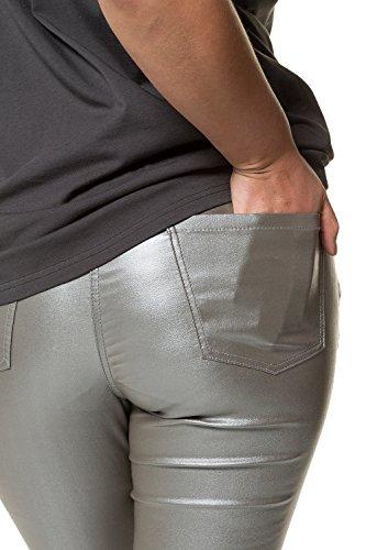 Studio 718387 5 Enduit Grandes Zip Femme Argenté Coupe Jean Slim Tailles Untold Poches Bouton fqrwzOf