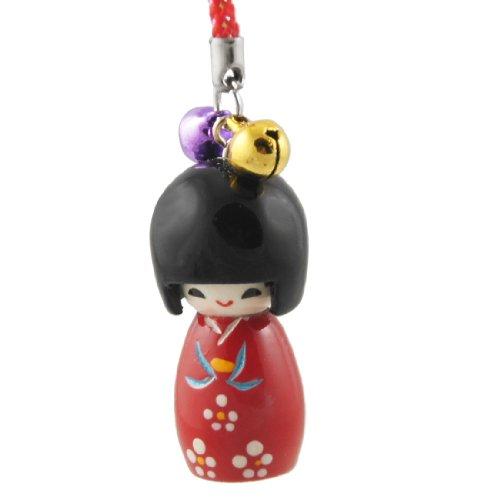 Red Black Japanese Kokeshi Doll Phone MP3 Strap w Nylon String