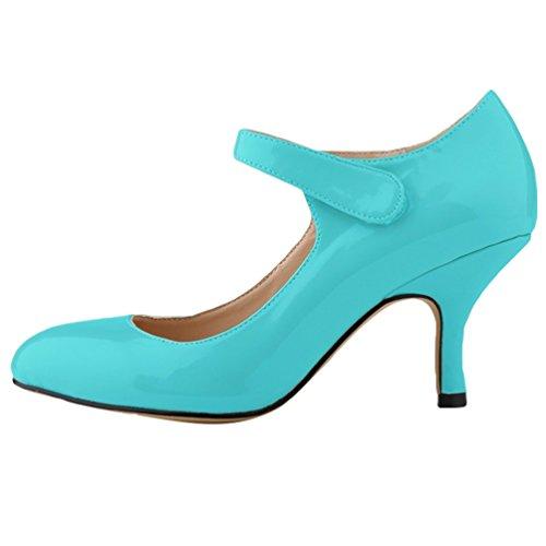 Heel Scarpe Donna Punta Kitten Scarpe WanYang Tacco Blu col Calzature Elegante Shoes a YZqRq8w