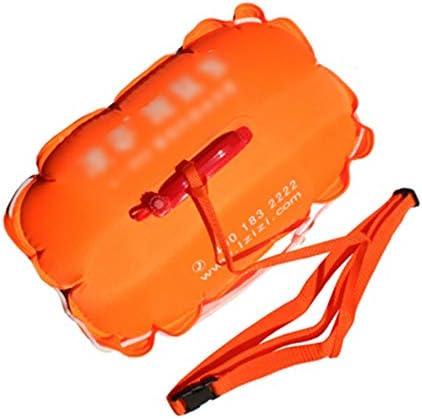 インフレータブル水泳安全ブイ、肥厚ダブルエアバッグのオープンウォータースイムインフレータブルバブルフロート、ソフトハンドル/調節可能なウエストベルト