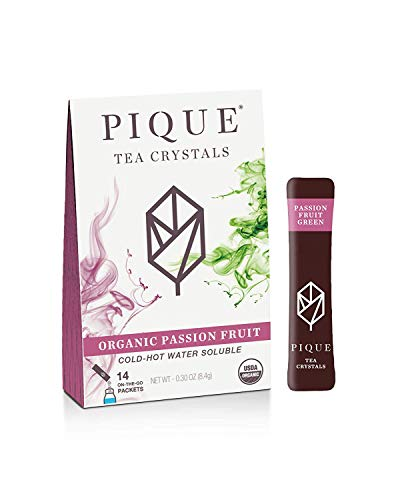 Pique Organic Passion Fruit Green Tea Crystals, Gut Health, Fasting, Calm, 14 Single Serve Sticks (Pack of 1)