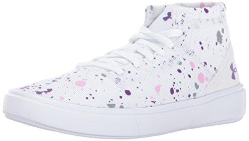 Under Armour Girls' Grade School KickIt2 Splatter Mid Sneaker 100/White, 5.5