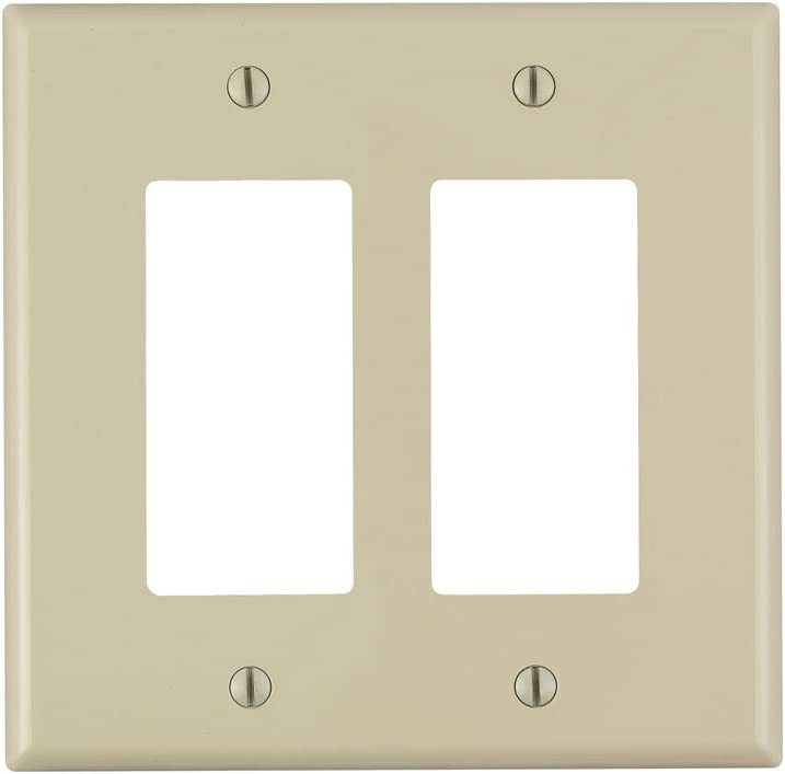 Leviton PJ262-I 2-Gang Decora/GFCI Decora Wallplate, Midway Size, Ivory