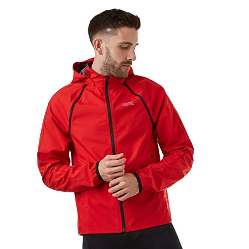 GORE Wear R3 Men's Zip-Off Hooded Jacket GORE WINDSTOPPER, M, Rot ()