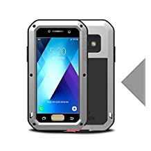 "Samsung Galaxy A520/A5 Metal Case,Shockproof Waterproof Dust/Dirt/Snow Proof Aluminum Metal Gorilla Glass Protection Case forSamsung Galaxy A520/A5 2017(5.2"") (Silver)"
