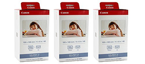 Canon KP-108IN Color ahPJNL Ink and 4 x 6 Paper Set, 108 Count (Pack of 3)