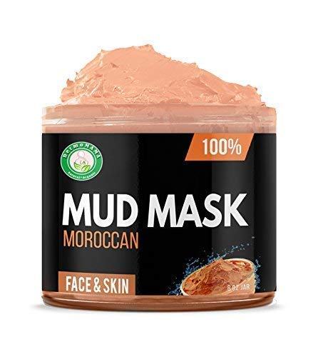 Anti-aging Mud Mask for Dry & Oily Skin Hair Acne Facial & Pore Cleansing Red Kaolin Moroccan Mud 100% Pure Natural & Organic for Face, Neck, Spa Body Wrap by -