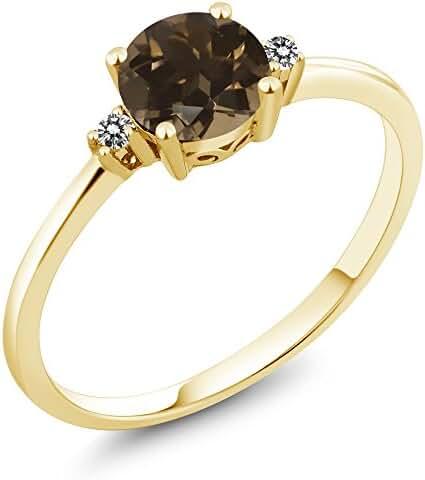 0.83 Ct Round Brown Smoky Quartz White Diamond 10K Yellow Gold Ring