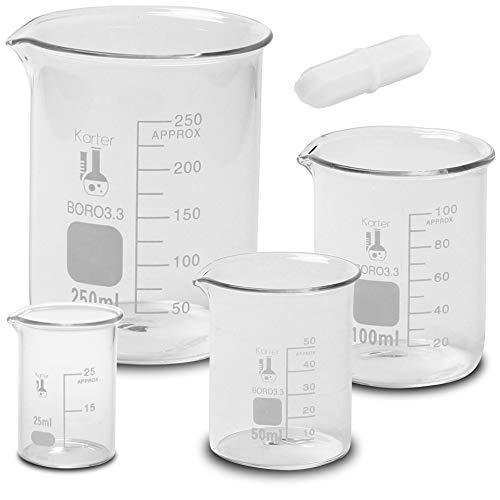 Glass Low Form Beaker Set with 1 inch Magnetic Stir Bar, Borosilicate Glass, 4 Sizes - 25, 50, 100, 250ml, Karter Scientific 233T2