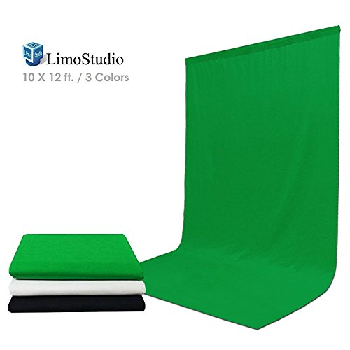 Neutral Photography Backdrop - LimoStudio 10 Foot X 12 Foot Black and Green and White Chromakey Photo Video Photography Studio Fabric Backdrop Background Screen, AGG1933V2